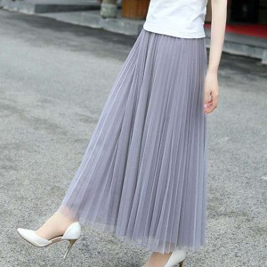 Pleated Elastic Waist Women Fashion Full Length Skirt - Gray