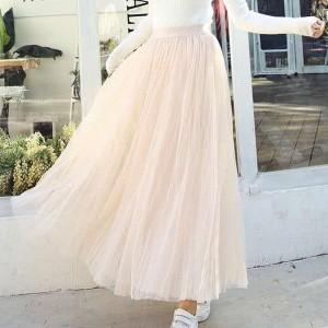 Pleated Elastic Waist Women Fashion Full Length Skirt - Apricot