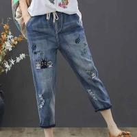 Denim Waist String Elastic Narrow Below Knee Jeans - Dark Blue