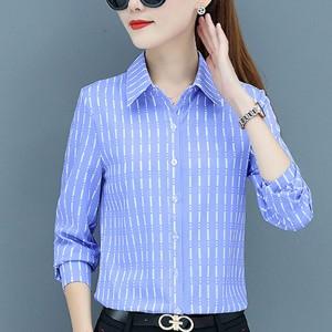 Formal Office Wear Full Sleeves Women Shirt - Blue
