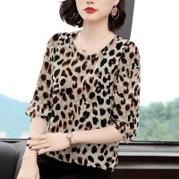 Leopard Prints Round Neck Half Sleeved Blouse Top