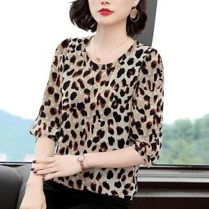 Leopard Prints Round Neck Half Sleeved Blouse Top