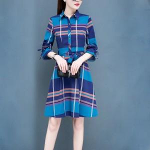 Square Prints Shirt Collar Mini Dress - Blue
