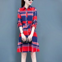 Square Prints Shirt Collar Mini Dress - Red
