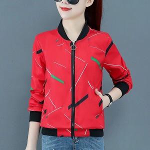 Printed Zipper Closure Long Sleeves Casual Jacket - Red