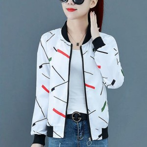 Printed Zipper Closure Long Sleeves Casual Jacket - White