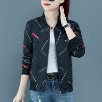 Printed Zipper Closure Long Sleeves Casual Jacket - Black