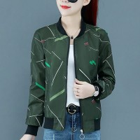 Printed Zipper Closure Long Sleeves Casual Jacket - Green