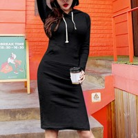 Hoodie Style Body Fitted Full Sleeves Mini Dress - Black