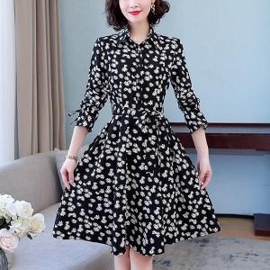 Shirt Collar Button Closure A-Line Knotted Mini Dress - Black