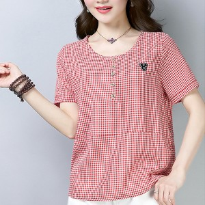 Round Neck Geometric Prints Short Sleeved Top - Red