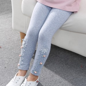 Floral Lace Patched Kids Wear Bottom Tight Trouser - Gray