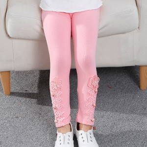 Floral Lace Patched Kids Wear Bottom Tight Trouser - Pink