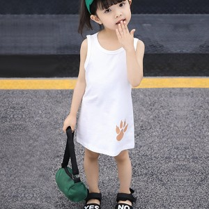 Animal Prints Sleeveless Round Neck Kids Girls Dress - White