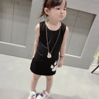 Animal Prints Sleeveless Round Neck Kids Girls Dress - Black