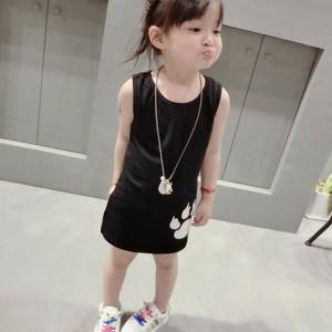 Animal Prints Sleeveless Round Neck Kids Girls Dress - Black