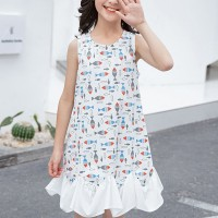Printed Round Neck Sleeveless Kids Wear Dress