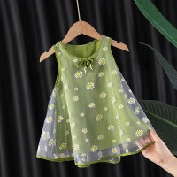 Floral Print Sleeveless Cute Kids Wear Dress - Green