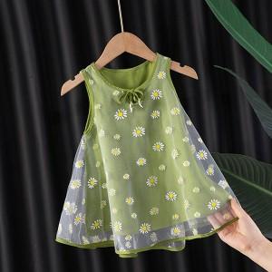 Floral Print Sleeveless Cute Kids Wear Dress - Green