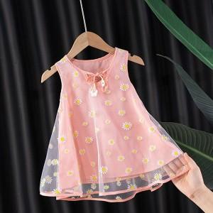 Floral Print Sleeveless Cute Kids Wear Dress - Pink