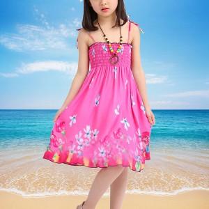 Spaghetti Strapped Floral Mini Kids Dress - Pink