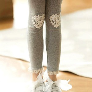 Lace Hearts Patched Narrow Bottom Kids Trouser - Gray
