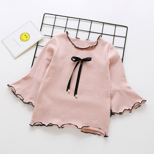 Ribbon Knotted Flared Round Neck Top - Pink