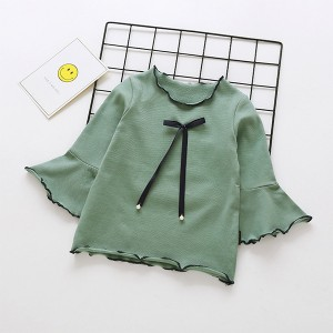 Ribbon Knotted Flared Round Neck Top - Green