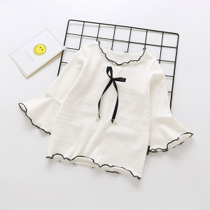 Ribbon Knotted Flared Round Neck Top - White