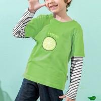 Lemon Prints Round Neck Loose Kids Wear T-Shirt - Green