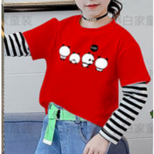 Panda Prints Round Neck Double Contrast Kids T-Shirt - Red