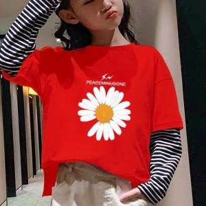 Floral Print Round Neck Women T-Shirt - Red