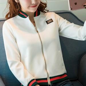 Contrast Zipper Closure Full Sleeves Jacket - White