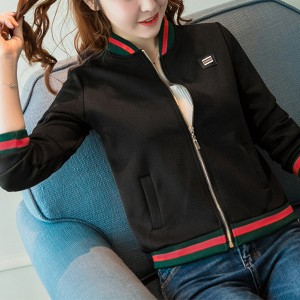 Contrast Zipper Closure Full Sleeves Jacket - Black