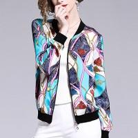 Digital Prints Zipper Women Fashion Outwear Winter Jacket