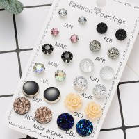 12 Pairs Ladies Fashion Earrings Set - Multi Color