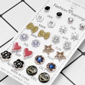 12 Pairs Ladies Heart Earrings Set - Multi Color