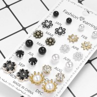 12 Pairs Ladies Flower Earrings Set - Multi Color