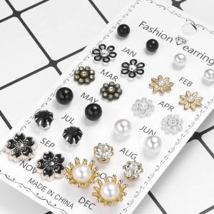 12 Pairs Ladies Flower Earrings Set - Multi Color
