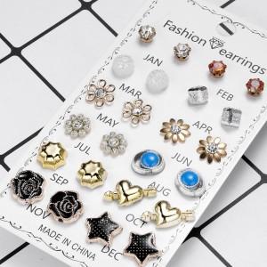 12 Pairs Ladies Star Earrings Set - Multi Color