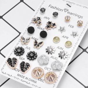 12 Pairs Ladies Butterfly Earrings Set - Multi Color