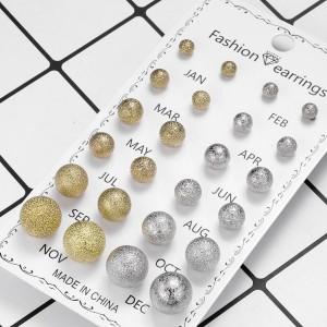 12 Pairs Ladies Simple Earrings Set - Multi Color