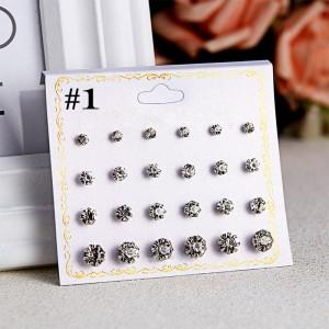 12 Pairs Woman Rhinestone Earrings Set - Transparent