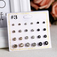 12 Pairs Woman Simple Earrings Set - Multi Color