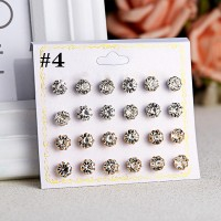 12 Pairs of Rhinestone Fashion Earrings - Transparent