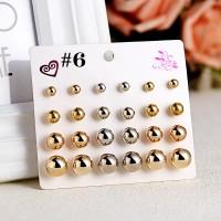 12 Pairs of Rhinestone Simple Earrings - Multi Color