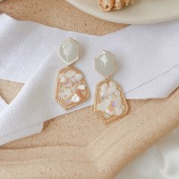 Vintage Inlaid Gemstone Earrings - White