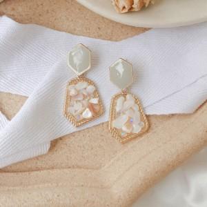 Vintage Inlaid Gemstone Earrings - White