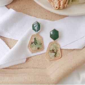 Vintage Inlaid Gemstone Earrings - Green