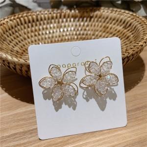 Girls High Sense Flower Earrings - Golden